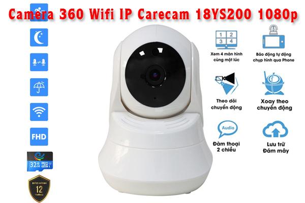 Camera 18YS200 là dòng camera 360 ip thông minh, đa nhiệm có thể ghi hình trực tiếp và xoay đa chiều theo sự điều khiển của người dùng