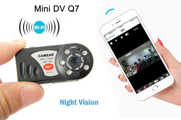 Camera quay lén kết nối điện thoại Q7 kết nối wifi
